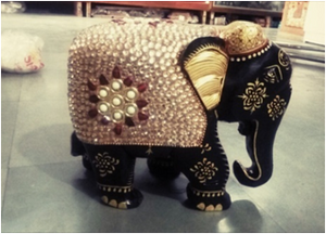 WOODEN GOLDEN WORK ELEPHANT WITH PAINTING WORK 8'' MYWH2911