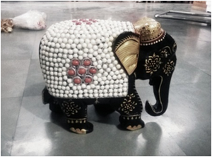 WOODEN PEARL WORK ELEPHANT WITH PAINTING WORK 8''MYWH2884