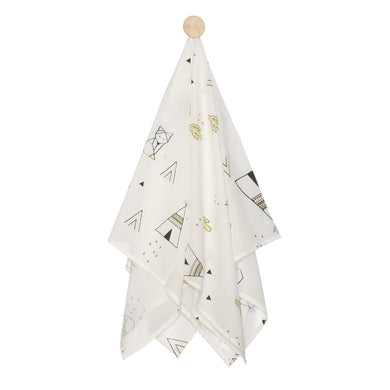 SWADDLE TEEPEE WHITE, BLACK & YELLOW