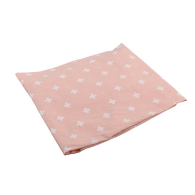 COT SHEET CROSS PINK  WHITE