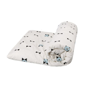 BLANKET BOW BEAR WHITE BLACK BLUE