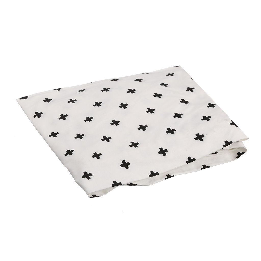COT SHEET CROSS WHITE BLACK