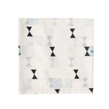 Load image into Gallery viewer, SWADDLE  BOW BEAR  WHITE BLACK BLUE