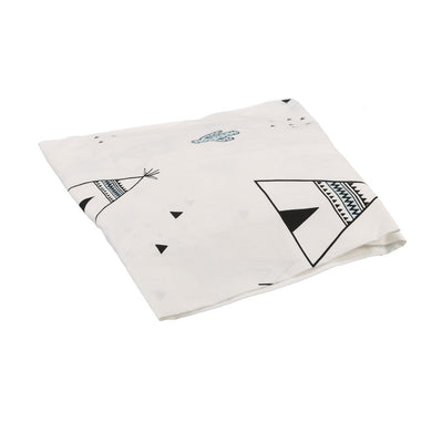 COT SHEET TEEPEE WHITE BLACK BLUE