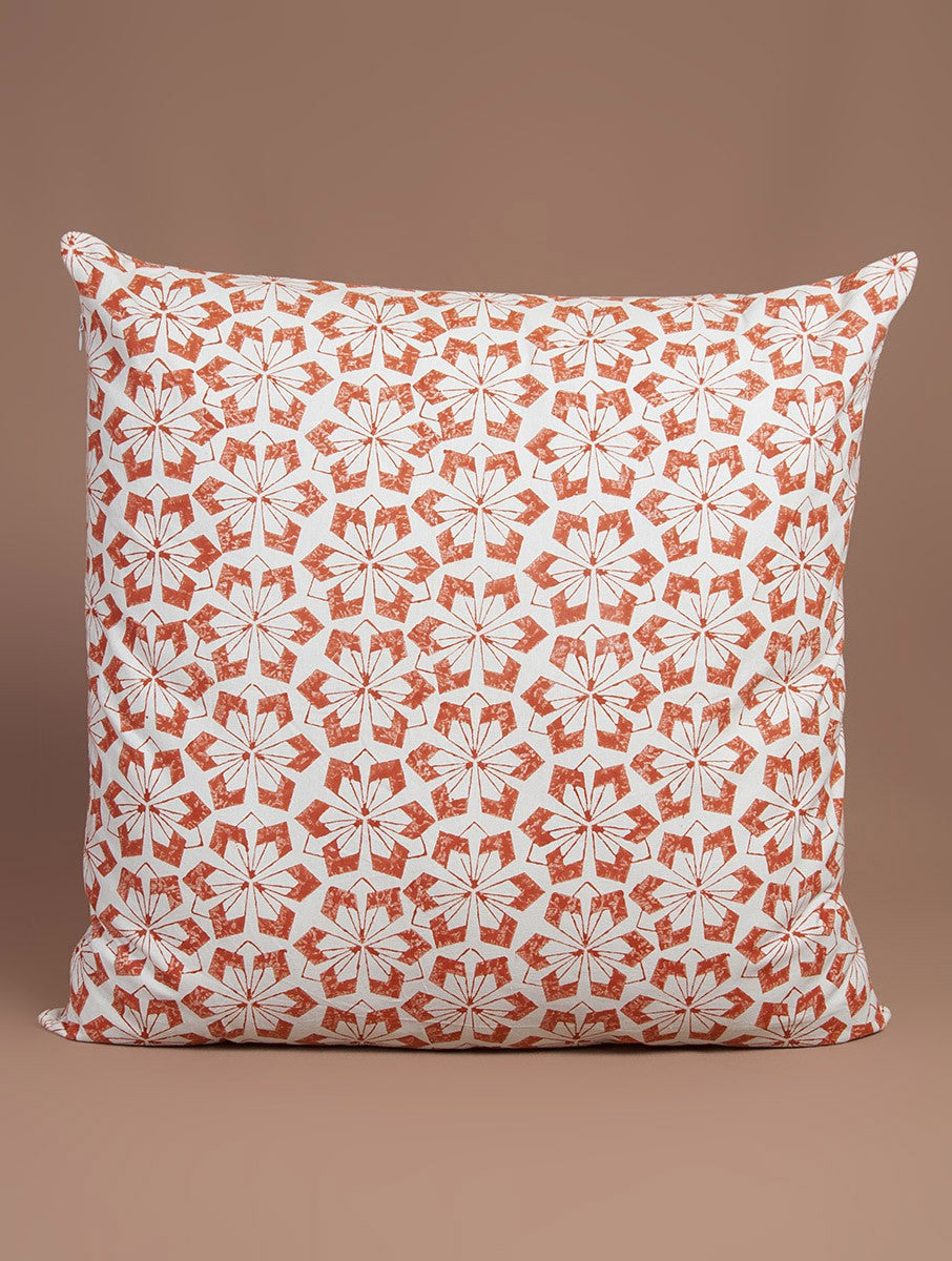 Orange Cotton Hand-Block Printed Cushion Cover