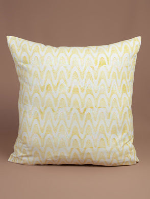 Yellow-White Cotton Hand-Block Printed Cushion Cover
