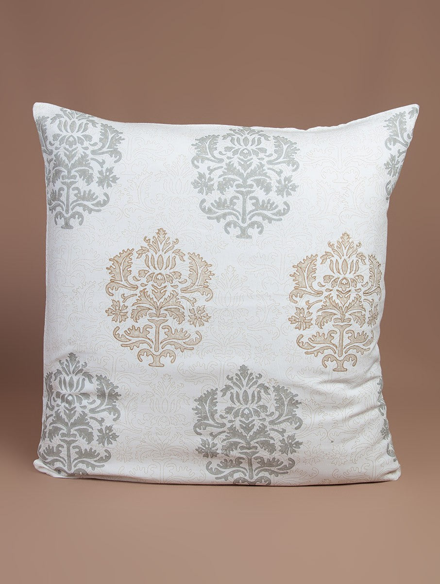 White-Beige-Grey Cotton Hand-Block Printed Cushion Cover