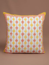 Load image into Gallery viewer, Red-Yellow-White Cotton Hand-Block Printed Cushion Cover