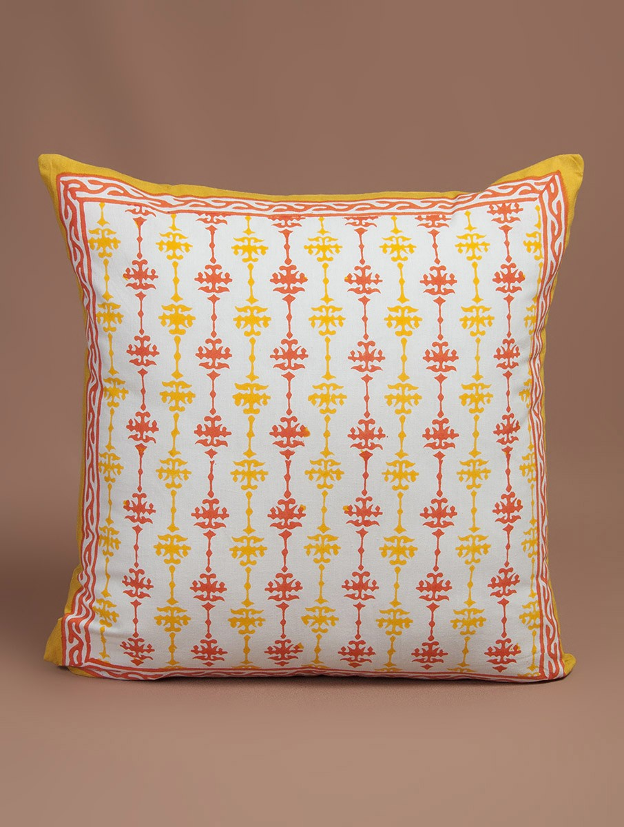 Red-Yellow-White Cotton Hand-Block Printed Cushion Cover