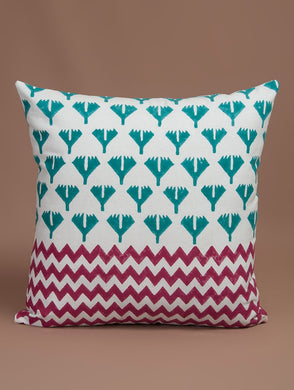 Red-Green-White Cotton Hand-Block Printed Cushion Cover