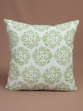 Load image into Gallery viewer, Green-White Cotton Hand-Block Printed Cushion Cover