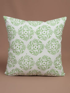 Green-White Cotton Hand-Block Printed Cushion Cover