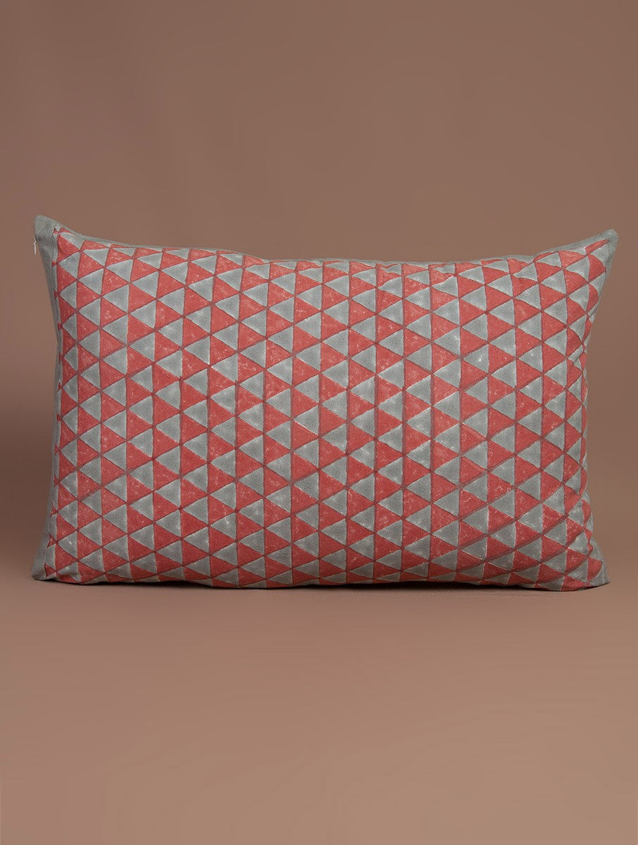 Red-Grey Cotton Hand-Block Printed Pillow Cover