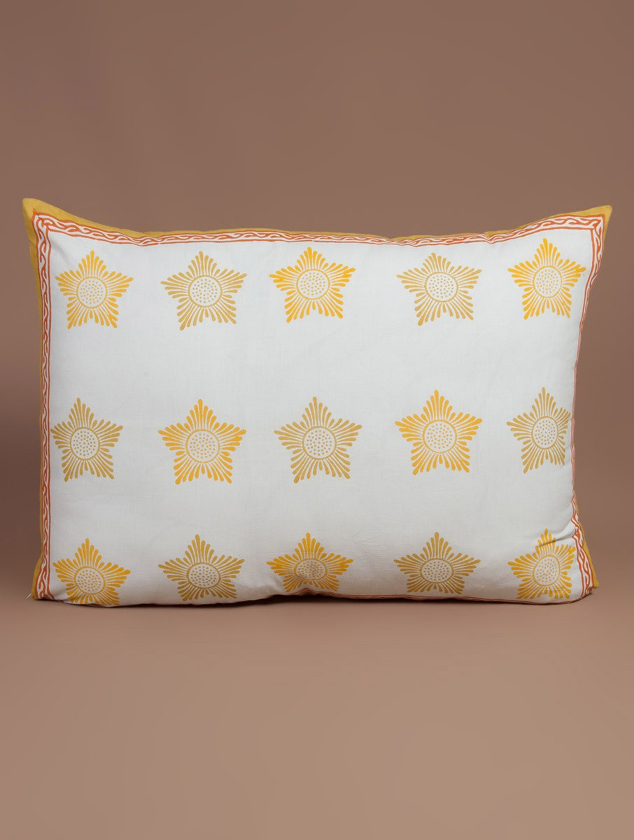 Yellow-White-Orange Cotton Hand-Block Printed Pillow Cover