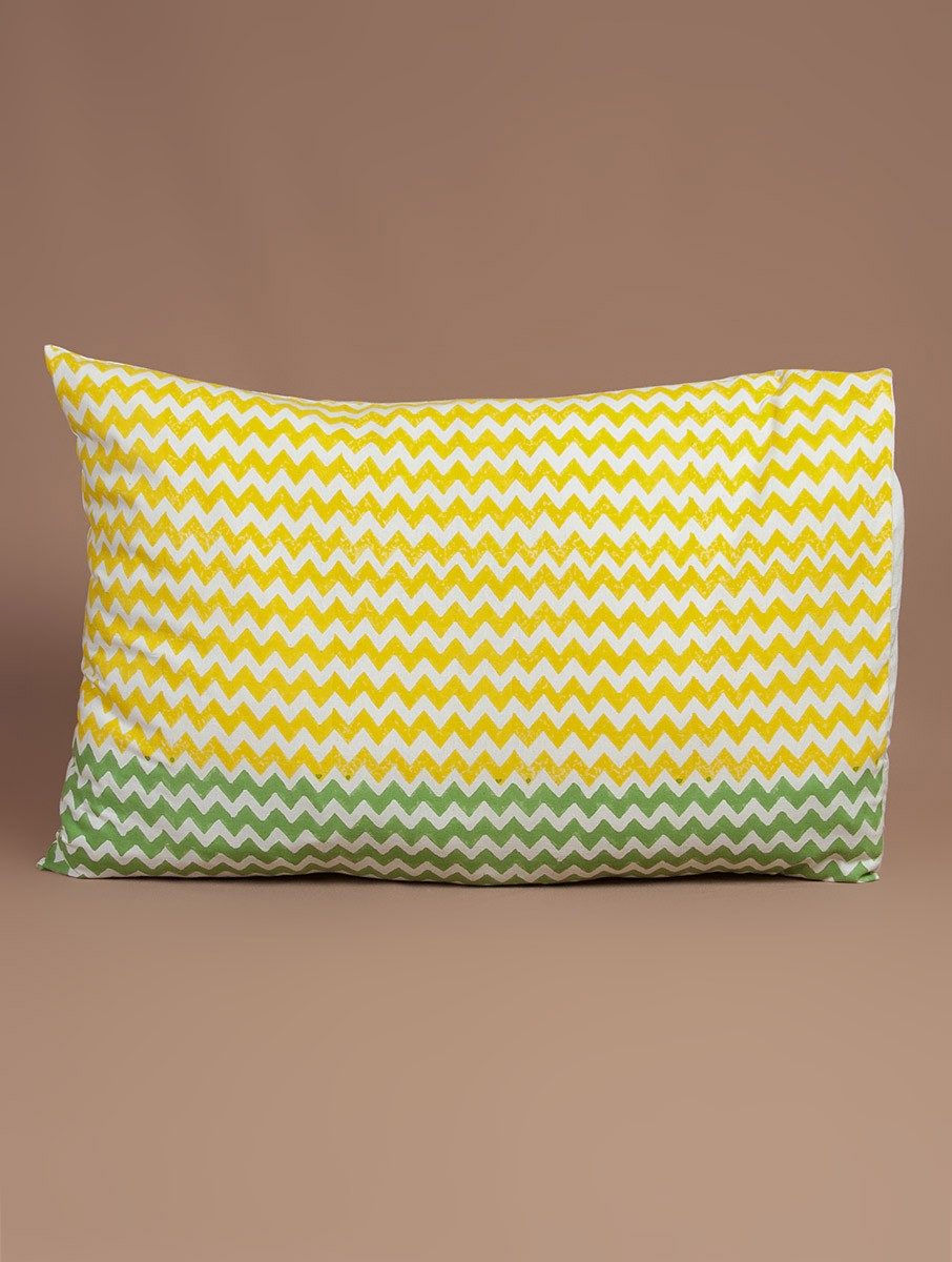 Yellow-White-Green Cotton Hand-Block Printed Pillow Cover
