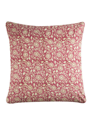 Cushion Cover Floral Jaal Hand Block Printed Cotton