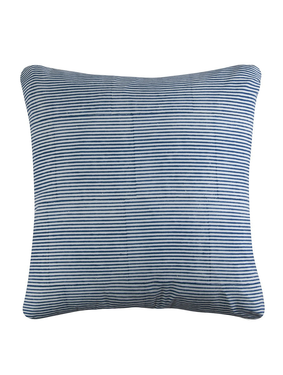 Stripe Cushion Cover Hand Block Printed Cotton