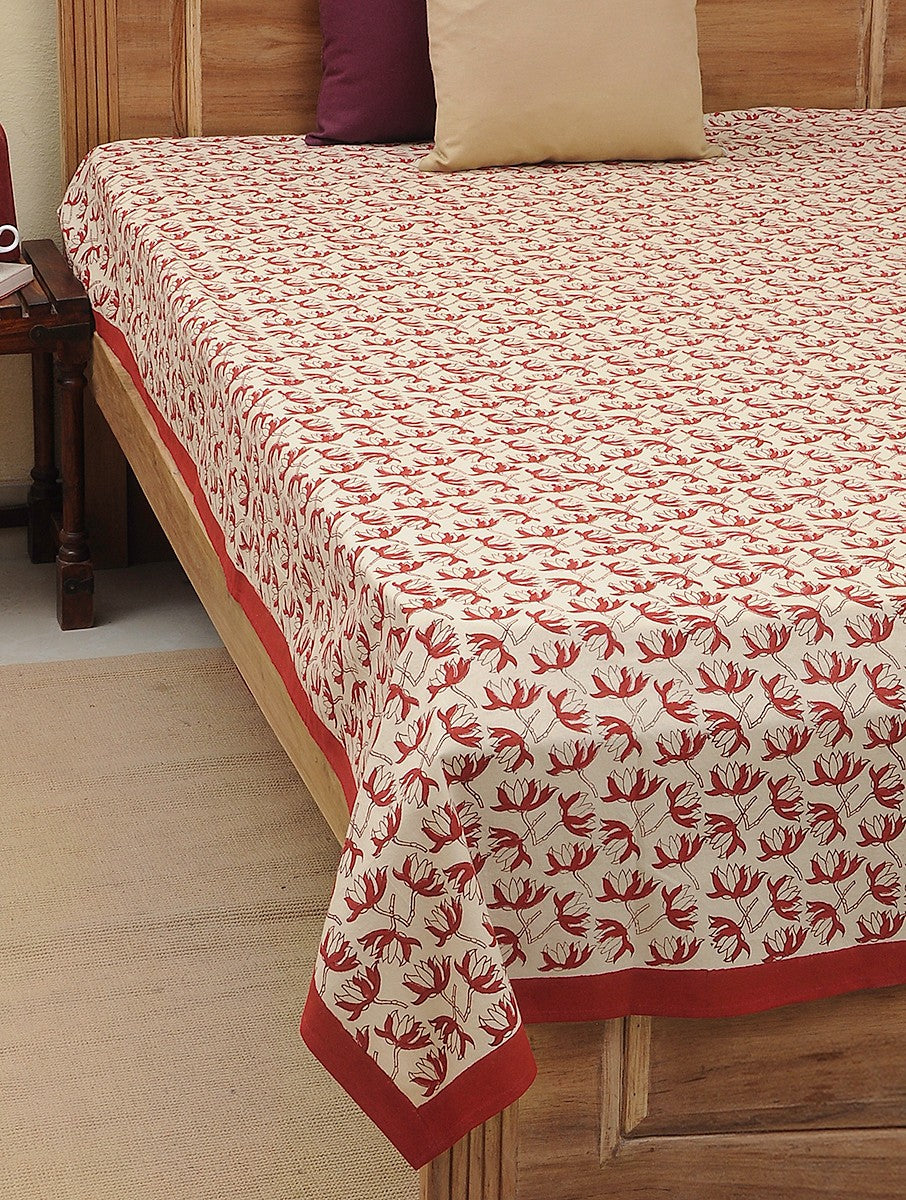 beige - red- floral block printed.