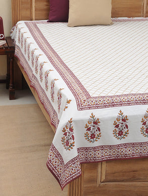 Bed Cover Hand Block Printed Maroon & Gold Color