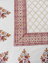 Load image into Gallery viewer, Bed Sheet Hand Block Printed Cotton Gold & Maroon Color