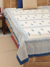 Load image into Gallery viewer, Bed Cover Block Printed Blue Leaf Design