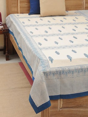Bed Cover Block Printed Blue Leaf Design