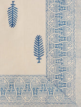 Load image into Gallery viewer, Bed Sheet Hand Block Printed Cotton Blue Leaf & Fish Design
