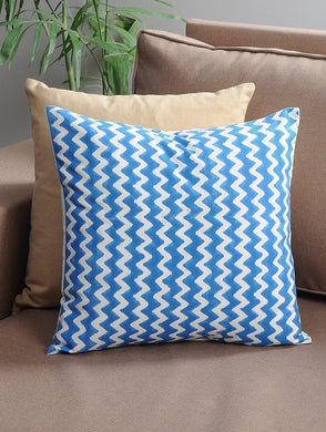 Blue Zigzag Cushion Cover Hand Block Printed Cotton