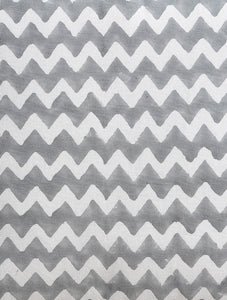 Grey Zigzag Cushion Cover Hand Block Printed Cotton