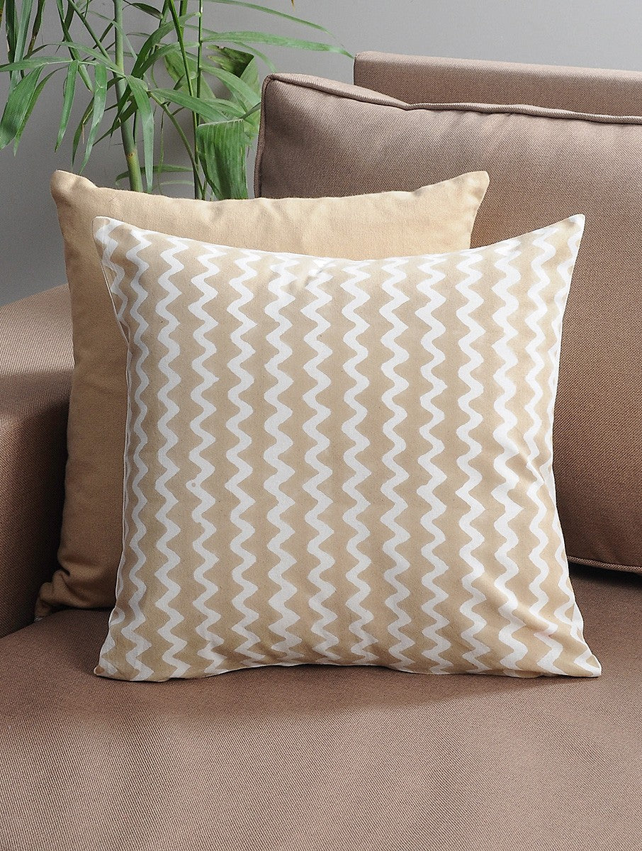 Beige Zigzag Cushion Cover Hand Block Printed Cotton