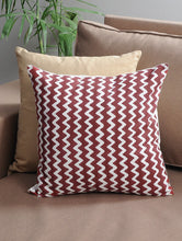 Load image into Gallery viewer, Maroon Zigzag Cushion Cover Hand Block Printed Cotton
