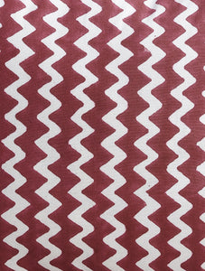 Maroon Zigzag Cushion Cover Hand Block Printed Cotton