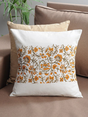 Yellow-Orange-White Cotton Hand-Block Printed Cushion Cover