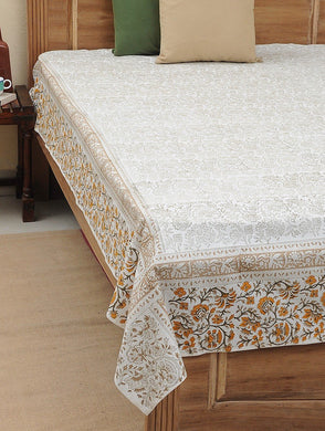 Bed Sheet Hand Block Printed Cotton Floral Jaal