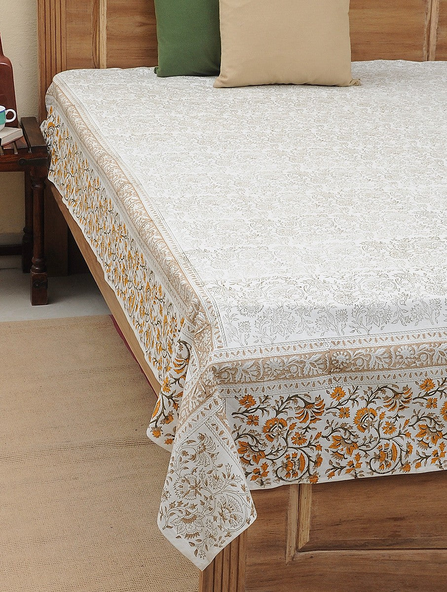 Bed Cover Hand Block Printed Floral Jaal Print