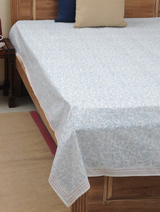 Bed Cover Hand Block Printed Blue Color Jaal