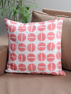 Peach Cushion Cover Hand Block Printed Cotton