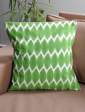 White-Green Cotton Hand-Block Printed Cushion Cover