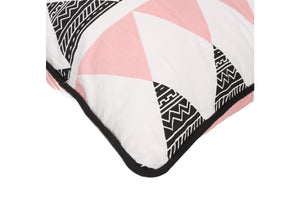 CUSHION COVER RECTANGLE TRIANGE PINK  WHITE
