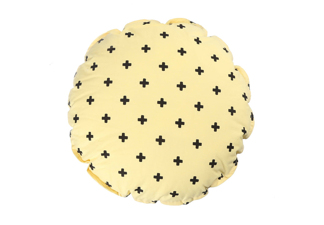 CUSHION COVER ROUND CROSS YELLOW BLACK