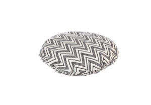 CUSHION COVER ROUND CHEVERON BLACK WHITE