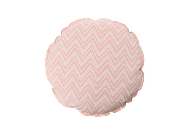 CUSHION COVER ROUND CHEVERON PINK  WHITE