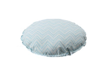 Load image into Gallery viewer, CUSHION COVER ROUND CHEVERON BLUE WHITE