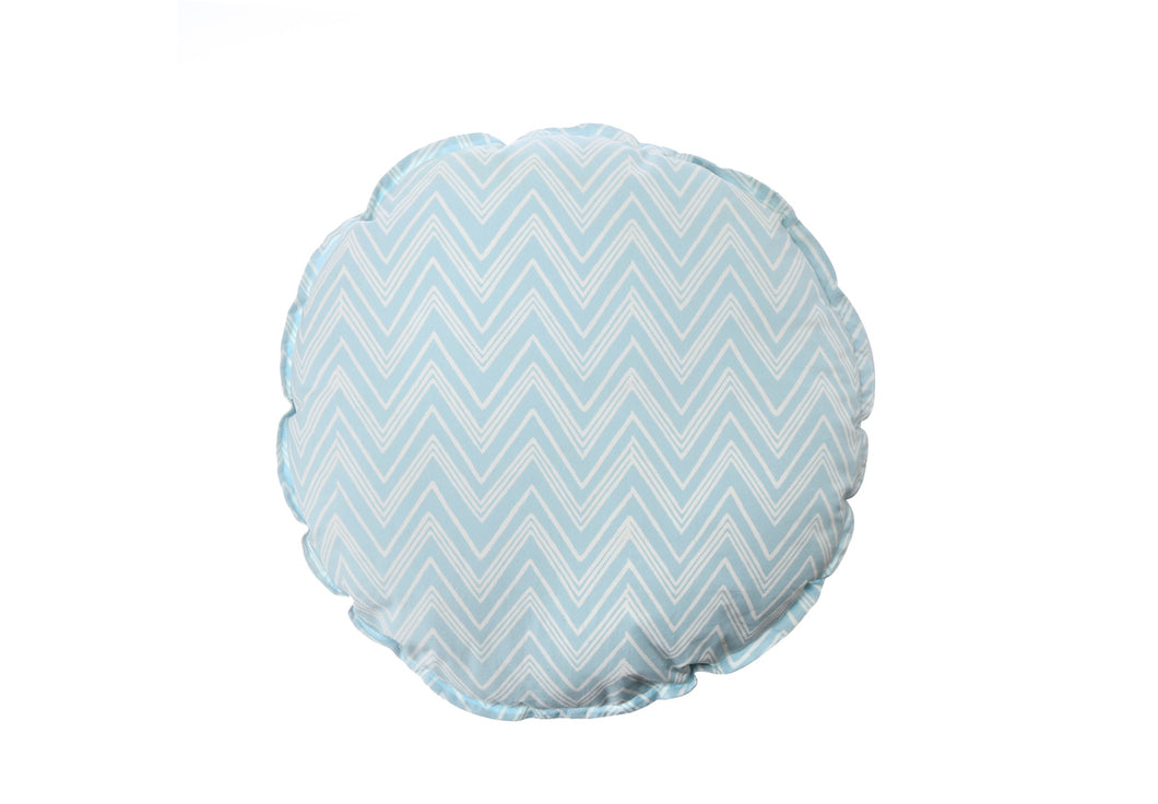 CUSHION COVER ROUND CHEVERON BLUE WHITE