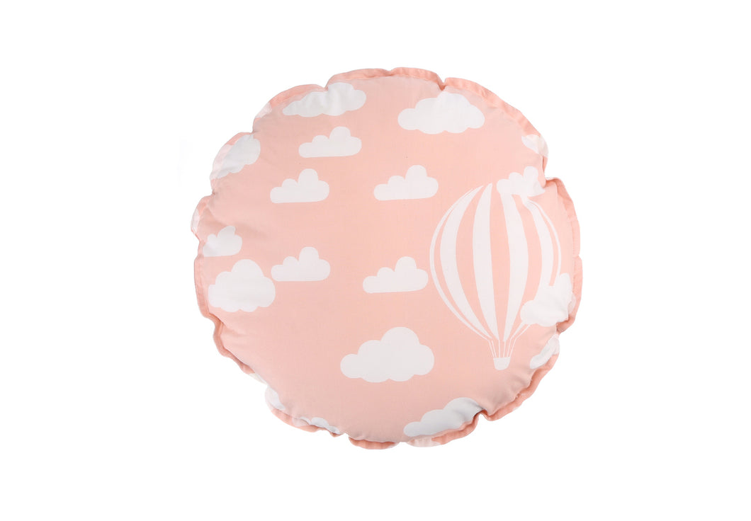 CUSHION COVER ROUND CLOUD PINK  WHITE