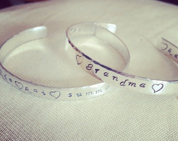 "6"" Personalised Sterling Silver Cuff Bangle"