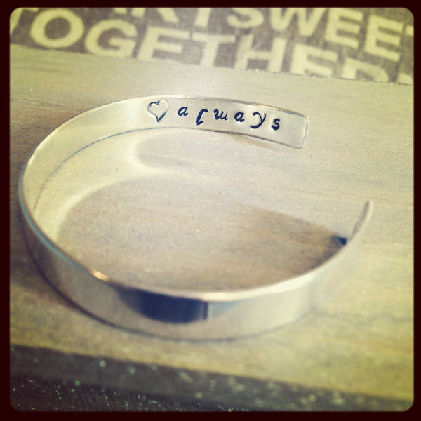 "7"" Personalised Sterling Silver Cuff Bangle"
