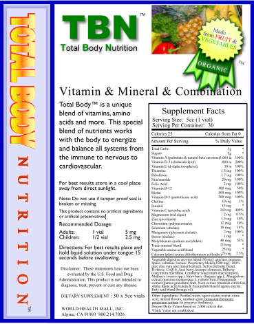 TBN: TotalBodyNutrition Liquid Vitamins & Minerals