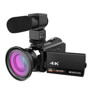 4K 48MP WiFi Digital Video Camera W/ Lens & Mic