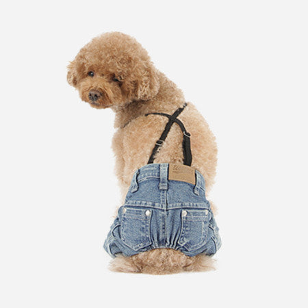Denim Pants with stretchy suspender